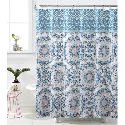 Loraine Mandala Burst Shower Curtain Color: Blue/Pink