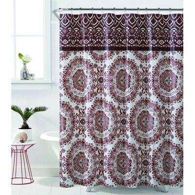 Loraine Mandala Burst Shower Curtain Color: Burgundy