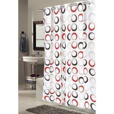 EZ-ON Circles Shower Curtain Color: White/Black/Red
