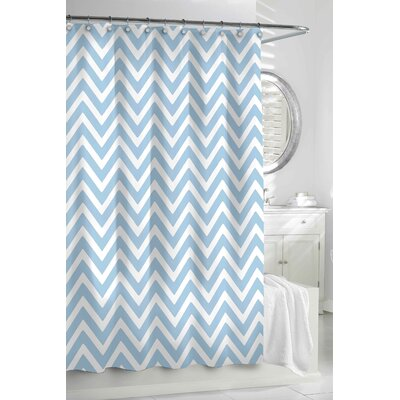 Gaines Chevron Cotton Shower Curtain Color: Aqua / White