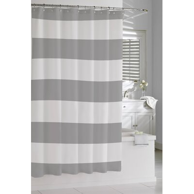 Prospero Stripes Cotton Shower Curtain Color: Grey / White