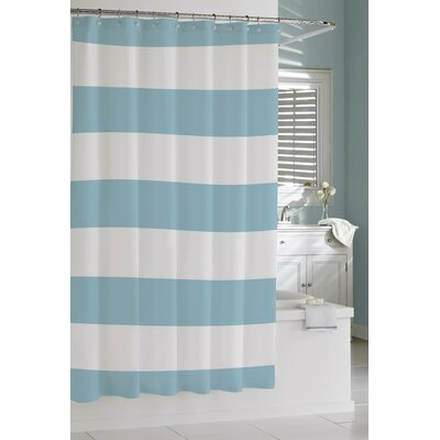 Prospero Stripes Cotton Shower Curtain Color: Aqua / White