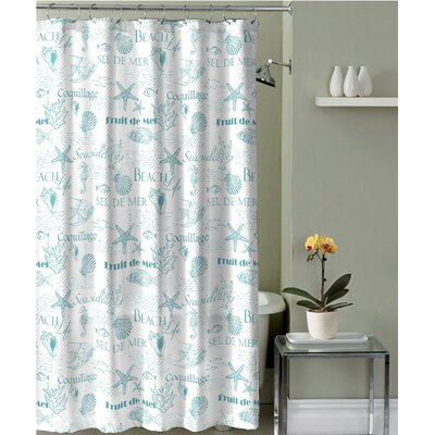 Roselee Fabric Shower Curtain Color: Turquoise