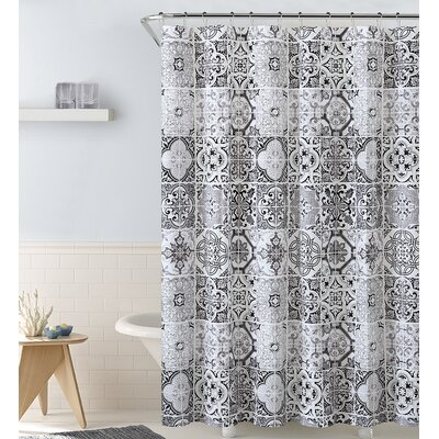 Royal  Shower Curtain Color: Black/White