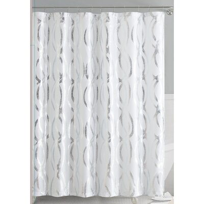 Oakley Metallic Sparks Shower Curtain Color: White/Silver