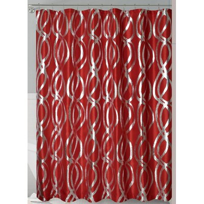 Oakley Metallic Sparks Shower Curtain Color: Red/Silver