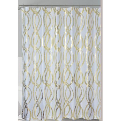 Oakley Metallic Sparks Shower Curtain Color: White/Gold