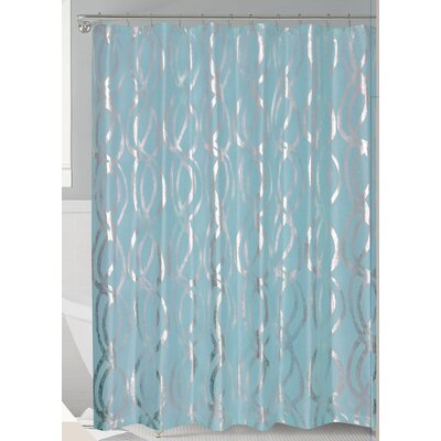Oakley Metallic Sparks Shower Curtain Color: Aqua/Silver