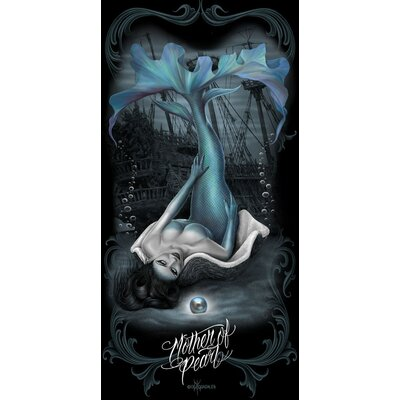 Royal Plush Dark Mermaid Mother of Pearl Beach Towel