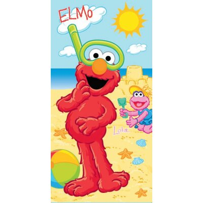 Royal Plush Elmo and Lola Building a Sandcastle Beach Towel