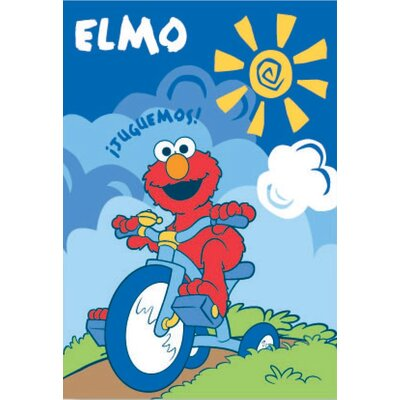Royal Plush Extra Heavy Elmo Riding a Tricycle Blanket