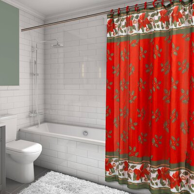 Christmas Floral Resin Shower Curtain Set