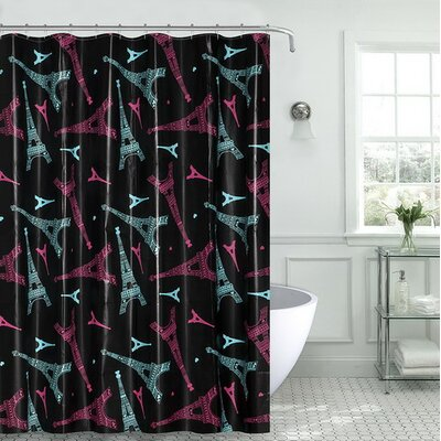 Charest Novelty Paris Glamour Eiffel Tower Vinyl Shower Curtain with Matching Roller Hook