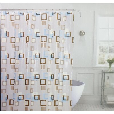 Kaeden Metro Squares Vinyl Shower Curtain with Matching Roller Hook Color: Brown