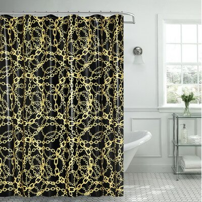 Albright Cadena Amarilla Chain Vinyl Shower Curtain with Matching Roller Hook