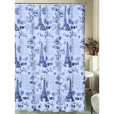 Charest Paris Ville de L'Amour Eiffel Tower Canvas Fabric Shower Curtain with Roller Hook Color: White