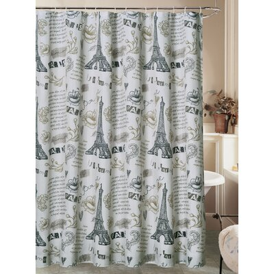 Charest Paris Ville de LAmour Eiffel Tower Canvas Fabric Shower Curtain with Roller Hook Color: Ivory