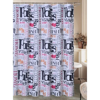 Charest Paris Glamour Chic Canvas Fabric Shower Curtain with Roller Hook