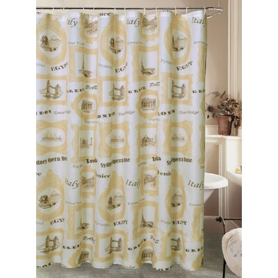 Charest El Mundo Worldly Travel Canvas Fabric Shower Curtain with Roller Hook