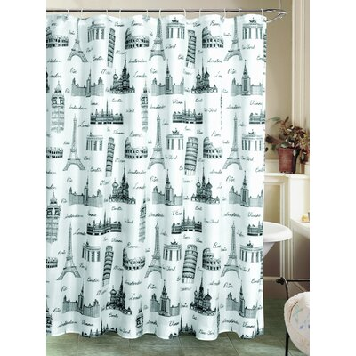 Charest International Landmarks Canvas Fabric Shower Curtain with Roller Hook