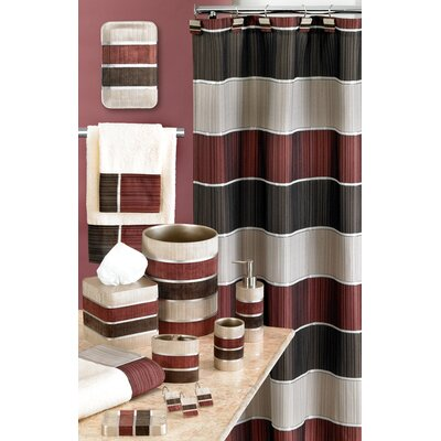 Aaronsburg Traditional Chic Striped Fabric Shower Curtain
