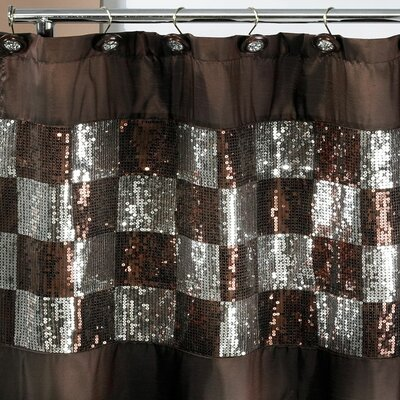 Brunilda Checkered Bling Fabric Shower Curtain