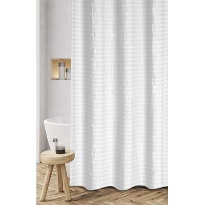 Atencio Textured Stripes 100% Cotton Shower Curtain Color: White
