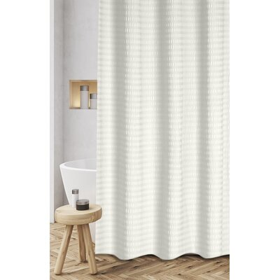 Atencio Textured Stripes 100% Cotton Shower Curtain Color: Ivory