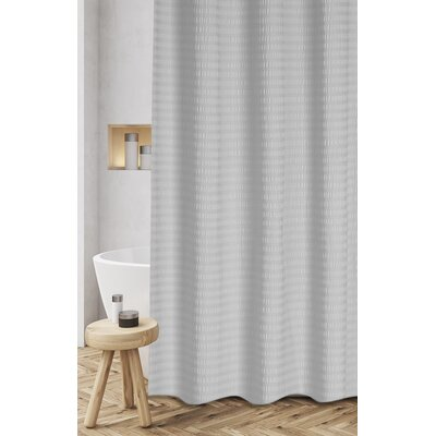 Atencio Textured Stripes 100% Cotton Shower Curtain Color: Gray