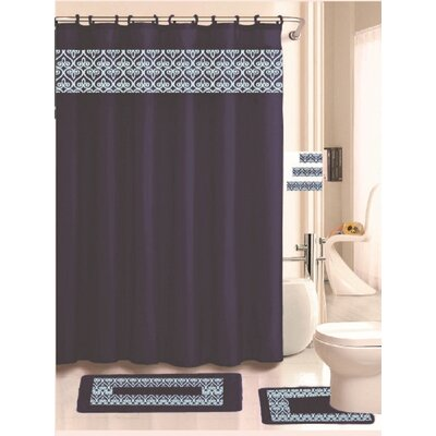 Beryl 18 Piece Embroidered Shower Curtain Set