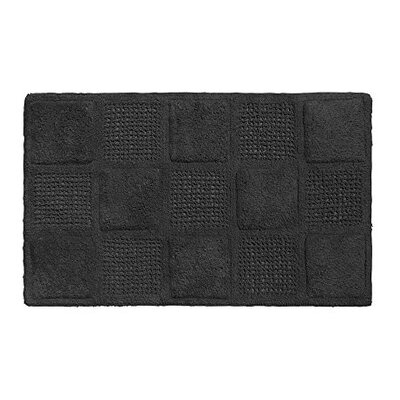Waffle Weave 100% Cotton Bath Rug Color: Black