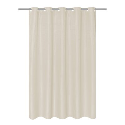 Waffle Weave Vinyl Shower Curtain Color: Cream