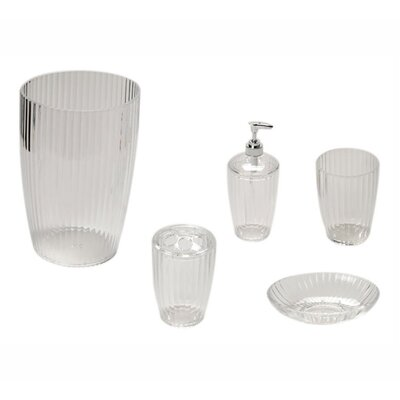 Acrylic Ribbed 5-Piece Bath Accessory Set Finish: Clear REBR2079 39253991