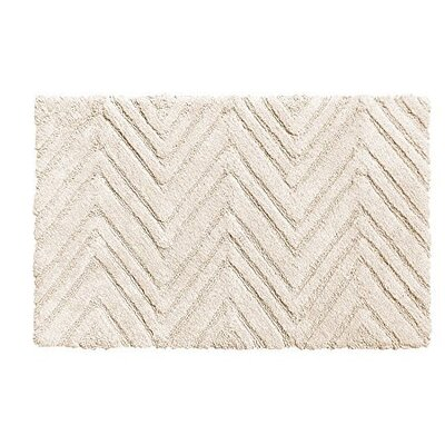 Chevron Weave 100% Cotton Bath Rug Color: White