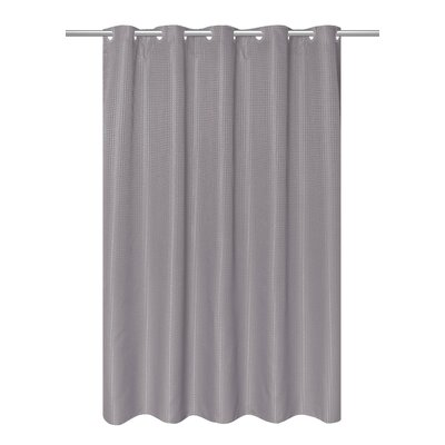 Waffle Weave Vinyl Shower Curtain Color: Silver Filigree