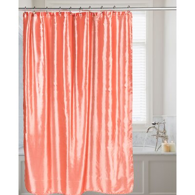 Easton Shimmer Faux Silk Shower Curtain Color: Salmon