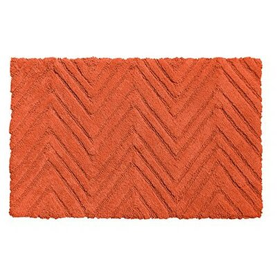 Chevron Weave 100% Cotton Bath Rug Color: Burnt Coral