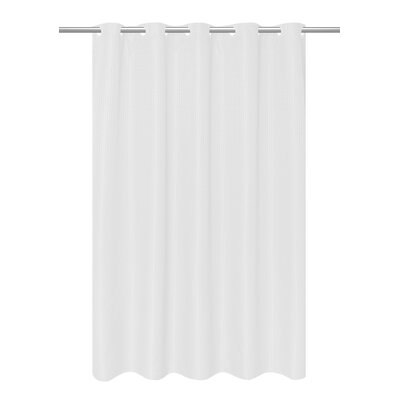 Waffle Weave Vinyl Shower Curtain Color: White