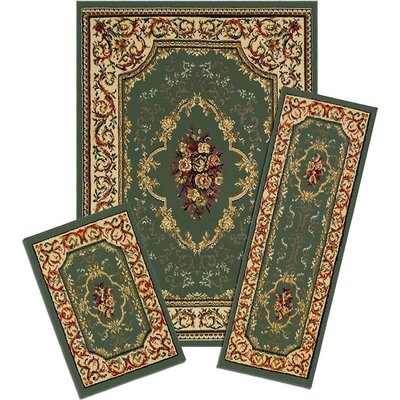 Monterey Rose Garden Green/Beige Area Rug Set
