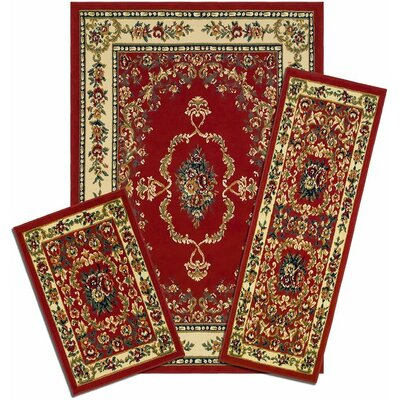 Monterey Savonnerie Synthetic Red/Yellow Area Rug Set