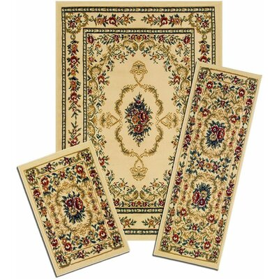 Monterey Savonnerie Synthetic Yellow Area Rug Set