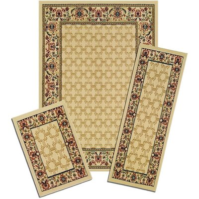 Ganley Golden Lattice Synthetic Yellow Area Rug Set