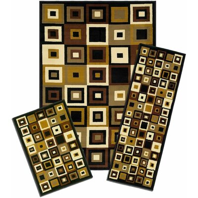 Winterton Tiles Synthetic Black/Yellow Area Rug Set
