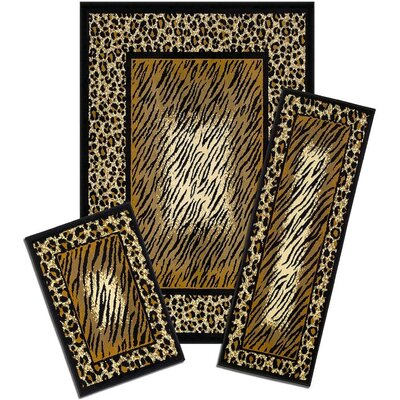 Huffman Leopard Skin Synthetic Gray/Black Area Rug Set