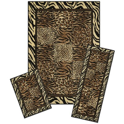 Huffman Safari Synthetic Gray/Black Area Rug Set