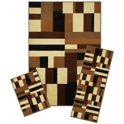 Winterton Synthetic Brown/Cream Area Rug Set
