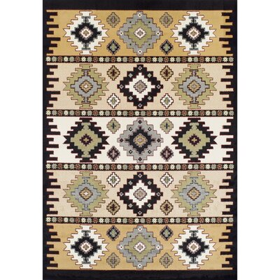 Capri Mayan Synthetic Gray/Black Area Rug