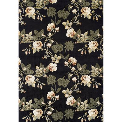Woburn Lily Synthetic Black Area Rug