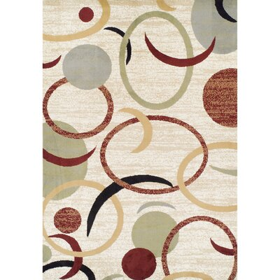 Woburn Circles Synthetic Cream/Red Area Rug