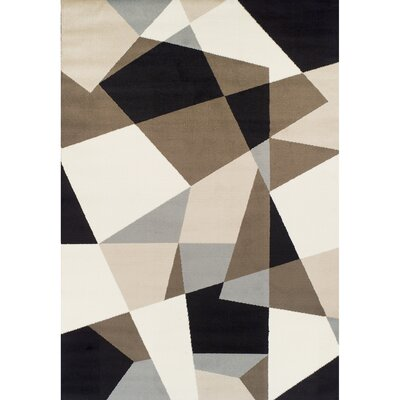 Connally Geometric Synthetic Black/Cream Area Rug